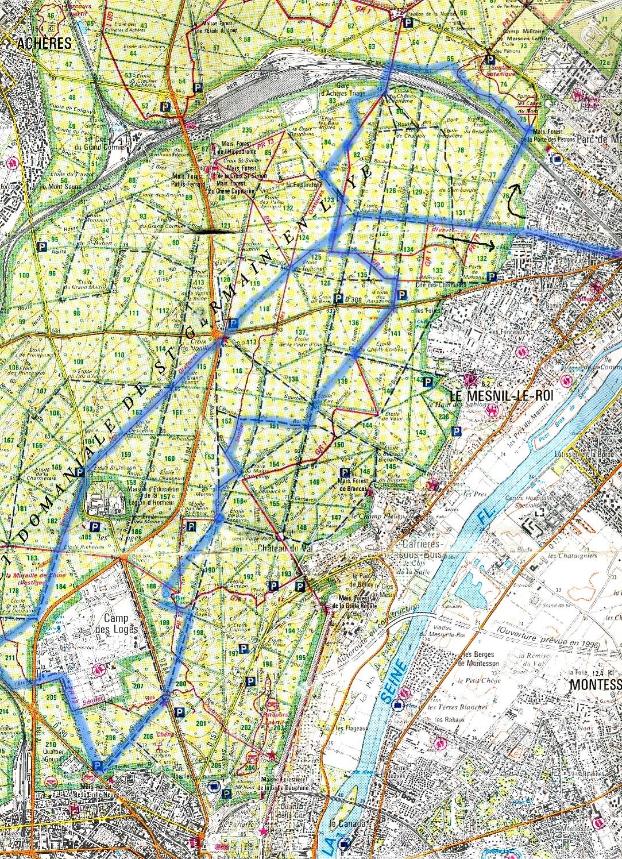 Plans circuits vtt en r gion parisienne - Foret saint germain en laye plan ...